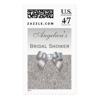 Silver Jewels Faux Bow Bridal Shower Postage Stamp