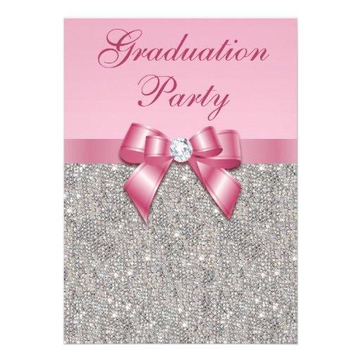 Silver Jewels Faux Bow Girls Graduation Party Custom Invitation