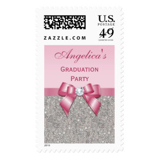 Silver Jewels Faux Bow Girls Graduation Party Postage