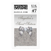 Silver Jewels Faux Bow Sweet Sixteen Postage