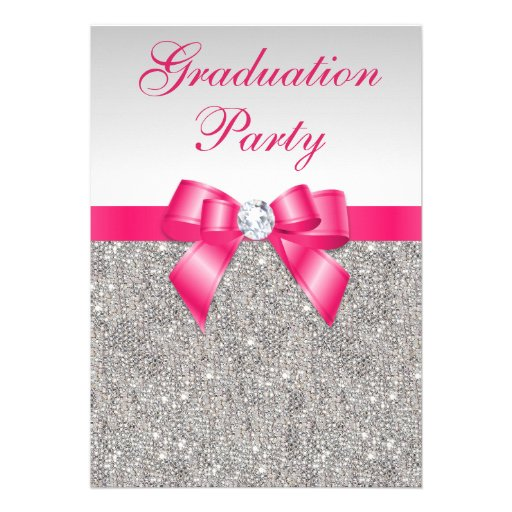 Silver Jewels Hot Pink Bow Girls Graduation Party Personalized Invites