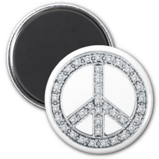 Silver Jewels Peace Sign 2 Inch Round Magnet