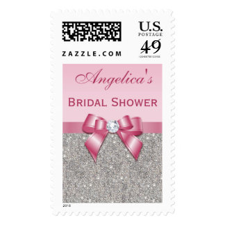 Silver Jewels Pink Bow Diamonds Bridal Shower Stamp