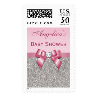 Silver Jewels Pink Bow Diamonds Girl Baby Shower Postage