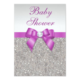 Silver Jewels Radiant Orchid Bow Baby Shower Card