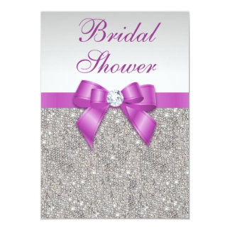 Silver Jewels Radiant Orchid Bow Bridal Shower Card