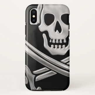 Silver Jolly Roger iPhone X Case