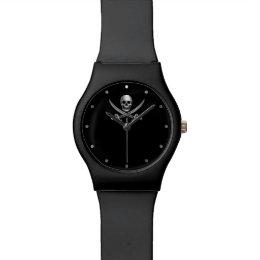 Silver Jolly Roger Wrist Watch