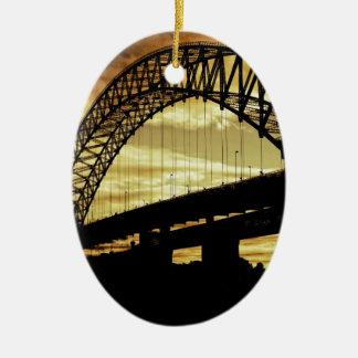 Silver Jubilee Suspension Bridge Silhouette Sunset Ceramic Ornament