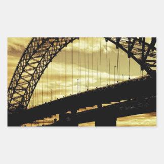 Silver Jubilee Suspension Bridge Silhouette Sunset Rectangular Sticker