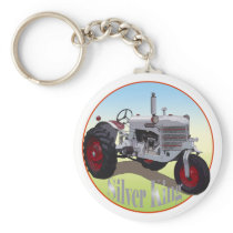 Silver King Tractor Keychain