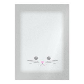Silver Kitty Cat Cute Animal Face Design Card
