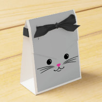 Silver Kitty Cat Cute Animal Face Design Favor Box