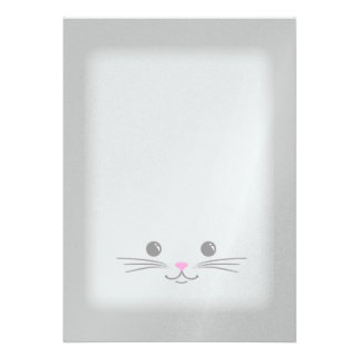 Silver Kitty Cat Cute Animal Face Design Personalized Announcements