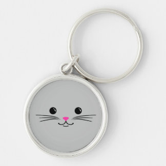 Silver Kitty Cat Cute Animal Face Design Keychain