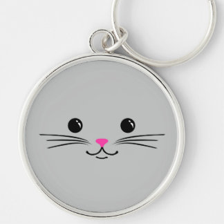Silver Kitty Cat Cute Animal Face Design Key Chains