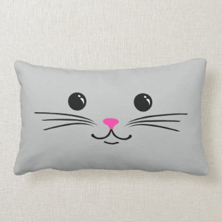 Silver Kitty Cat Cute Animal Face Design Lumbar Pillow