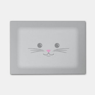 Silver Kitty Cat Cute Animal Face Design Post-it® Notes