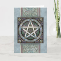 Silver Knotwork Pentacle Greeting Card