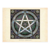 Silver Knotwork Pentacle Postcard