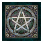 "Silver Knotwork Pentacle Poster (22x22"")"