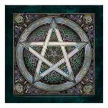 Silver Knotwork Pentacle Poster (22x22