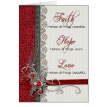 Silver Lace and Vintage Red Damask Card