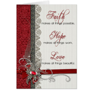 Silver Lace and Vintage Red Damask Greeting Card