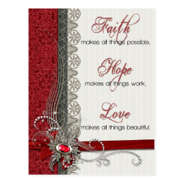 Silver Lace and Vintage Red Damask Postcard