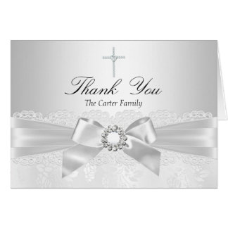 Silver Lace & Cross Baptism Thank You Card