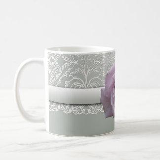 Silver Lace Damask Beauty Rose Mug