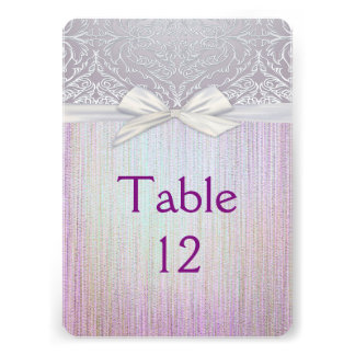 Silver Lace Ribbon Lavender Pastel Table card