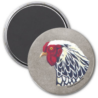Silver Laced Wyandotte Rooster 3 Inch Round Magnet