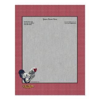 Silver Laced Wyandotte Rooster Barn Boards  Dots Personalized Letterhead