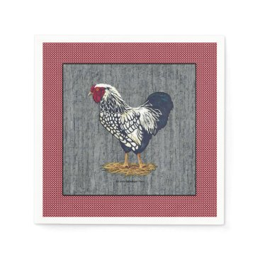 linda_mn Silver Laced Wyandotte Rooster Barn Boards  Dots Paper Napkin