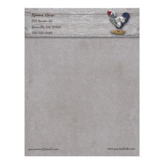 Silver Laced Wyandotte Rooster Barnboards Letterhead Template