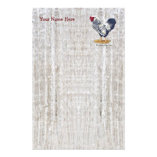 Silver Laced Wyandotte Rooster Barnboards Personalized Stationery