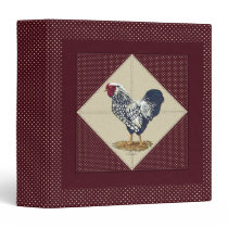 Silver Laced Wyandotte Rooster Cream Dots Burgundy 3 Ring Binder