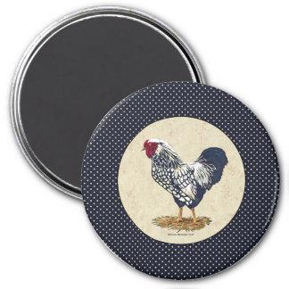 Silver Laced Wyandotte Rooster Denim 3 Inch Round Magnet