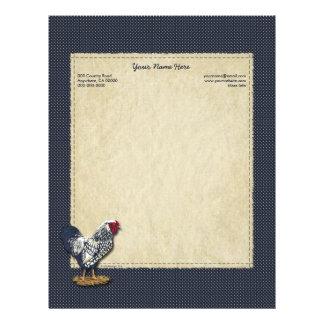 Silver Laced Wyandotte Rooster Denim Customized Letterhead