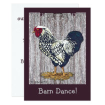 Silver Laced Wyandotte Rooster Invitation