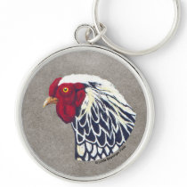 Silver Laced Wyandotte Rooster Keychain