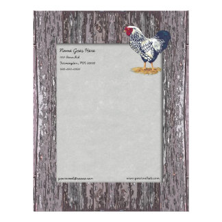 Silver Laced Wyandotte Rooster Customized Letterhead