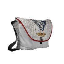 Silver Laced Wyandotte Rooster LIght Barnboards Messenger Bag
