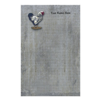 Silver Laced Wyandotte Rooster Lined Barn Boards Stationery