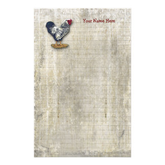 Silver Laced Wyandotte Rooster Lined Barnboards Stationery