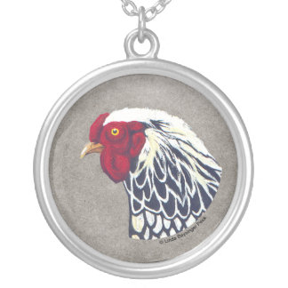 Silver Laced Wyandotte Rooster Pendants