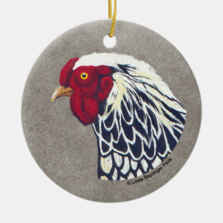 Silver Laced Wyandotte Rooster Christmas Ornament