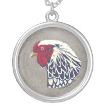 Silver Laced Wyandotte Rooster Silver Plated Necklace