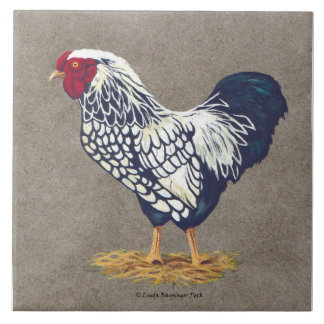 Silver Laced Wyandotte Rooster Ceramic Tiles
